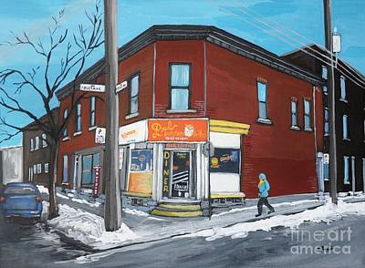 Streets Of Quebec Painting - Paul Patate Pte St Charles by Reb Frost