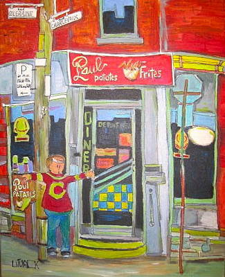 Montreal Chips Painting - Paul Patates Montreal Chip Bar Montreal Memories by Michael Litvack