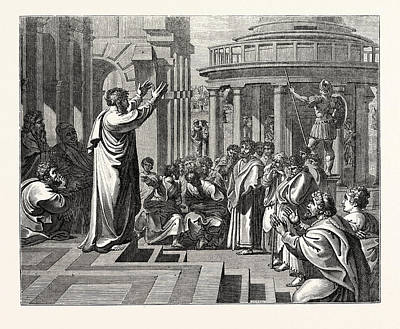 Athens Drawing - Paul Preaching At Athens by English School
