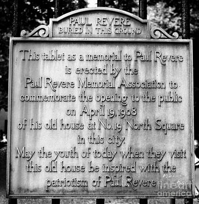 Photograph - Paul Revere Burial Plaque Boston Massachusetts by Staci Bigelow