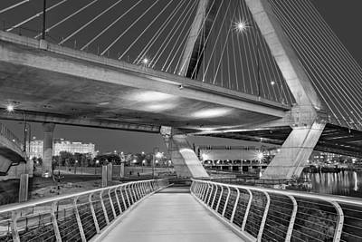 Photograph - Paul Revere Park And The Zakim Bridge Bw by Susan Candelario