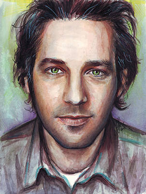 Celebrities Painting - Paul Rudd Portrait by Olga Shvartsur