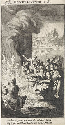 Viper Drawing - Paul Shakes The Snake Off Into The Fire, Jan Luyken by Jan Luyken And Anonymous