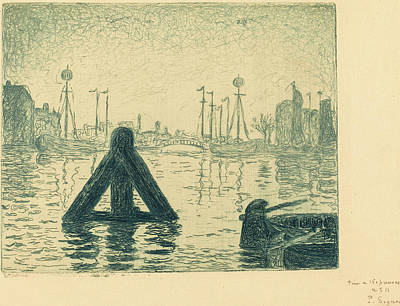Balise Drawing - Paul Signac French, 1863 - 1935, Harbor In Holland - by Quint Lox