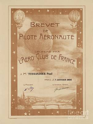 Paul Tissandier's Balloon License, 1904 Art Print by Library Of Congress