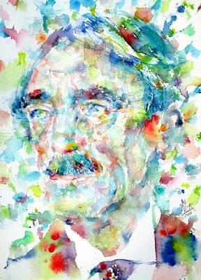 Paul Valery - Watercolor Portrait Art Print by Fabrizio Cassetta