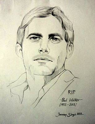 Drawing - Fast And Furious - Paul Walker by Tanmay Singh