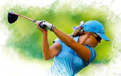 Ernie Els Wall Art - Digital Art - Paula Creamer Hits A Shot During A Practice Round by Don Kuing
