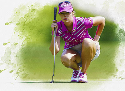 Ernie Els Wall Art - Digital Art - Paula Creamer Lines Up Her Putt by Don Kuing