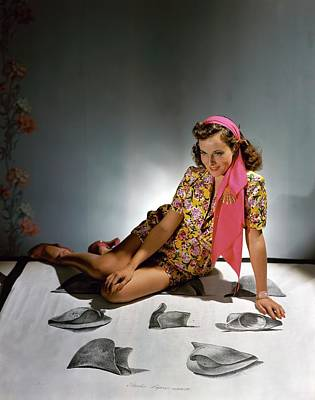 1940s Fashion Photograph - Paulette Goddard Wearing A Floral Pattern by Horst P. Horst