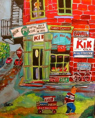 Dow Beer Sign Painting - Paul's Grocery Montreal by Michael Litvack