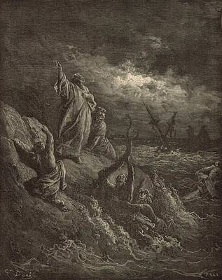 Scriptural Drawing - Paul's Shipwreck by Antique Engravings