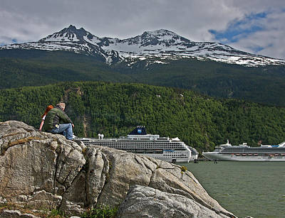 Pause In Wonder At Cruise Ships In Alaska Art Print by John Haldane