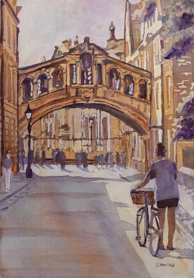 Oxford Painting - Pausing Before The Bridge by Jenny Armitage