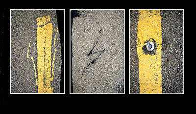Photograph - Pavement Abstract Triptych Photography by Ann Powell