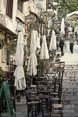 Pavement Cafe Of Athens Art Print