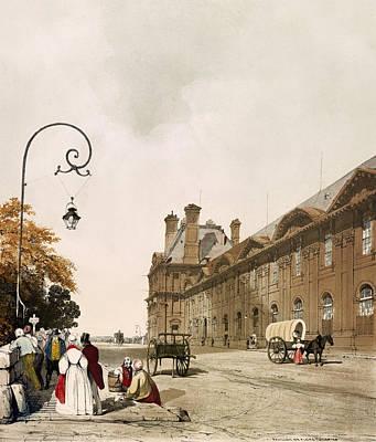 Long Street Drawing - Pavilion De Flore Paris Lithograph 1839 by Mountain Dreams