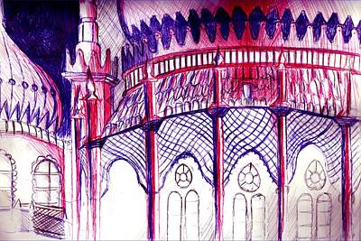 Circuit Board Drawing - Pavillion At Night by Seb Mcnulty