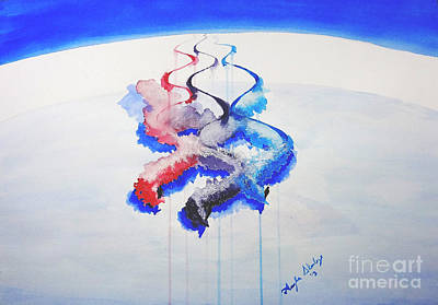 Powder Skiing Painting - Paving The Way by Angee Skoubye
