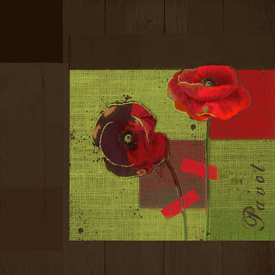 Poppy Digital Art - Pavot - 128128146bl01b by Variance Collections