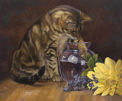 Yellow Daisy Wall Art - Painting - Paw In The Vase by Lucie Bilodeau