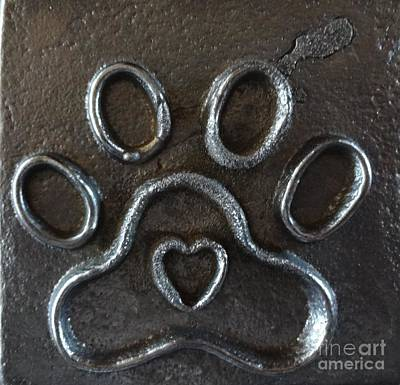 Wall Art - Photograph - Paw Print With Heart by Megan Cohen