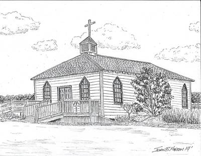 Pi Drawing - Pawley's Island Chapel by John Hopson