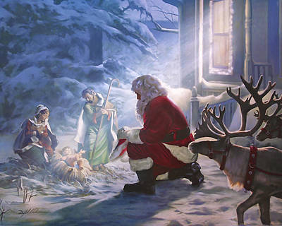 Worship God Painting - Santa Paying Homage by Danny Hahlbohm