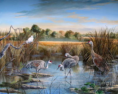 Florida State Painting - Paynes Prairie Preserve State Park- Day Of The Sand-hill by Daniel Butler