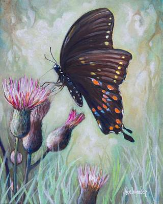 Thistle Painting - Paynes Prairie Swallowtail by Eve  Wheeler