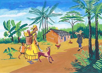 Art Print featuring the painting Paysage Du Sud Du Cameroon by Emmanuel Baliyanga