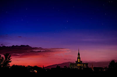 Payson Temple Starry Night Artistic Art Print by La Rae  Roberts