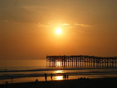 Pb Sunset Over The Pier Art Print