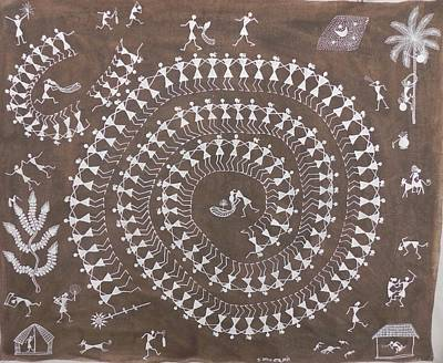 Indian Tribal And Folk Art Painting - Pbm 02 by Praveen Balu Mashe