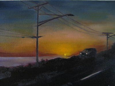 Santa Monica Painting - Pch At Night by Lindsay Frost