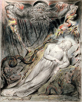 Storm Drawing - Pd.20-1950 Christs Troubled Sleep by William Blake