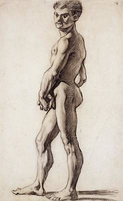 Homoerotic Drawing - Male Nude by Paul Cezanne