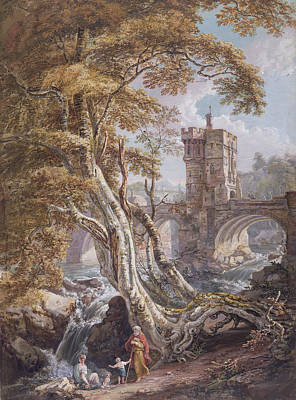 Tree Roots Painting - View Of The Old Welsh Bridge by Paul Sandby