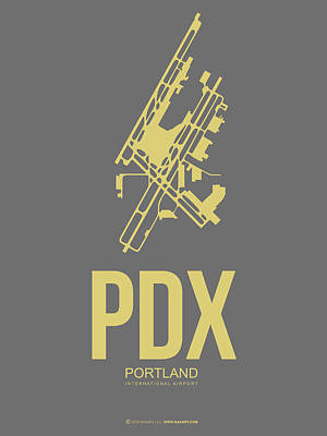 Capital Cities Digital Art - Pdx Portland Airport Poster 2 by Naxart Studio