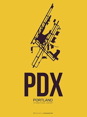 Digital Art - Pdx Portland Airport Poster 3 by Naxart Studio