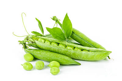 Food And Beverage Photos - Pea pods and green peas by Elena Elisseeva