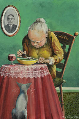 Dinner Painting - Pea Soup And Cabernet by Shelly Wilkerson