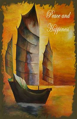 Fishing Enthusiast Painting - Peace And Happiness Christmas Greetings by Tracey Harrington-Simpson