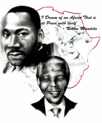 Martin Luther King Drawing - Peace And Harmony by Eddie Egesi