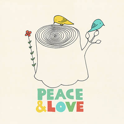Bird Drawing - Peace And Love by Eric Fan