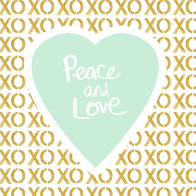 Peace And Love In Aqua And Gold Print by Linda Woods
