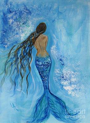 Mermaid Tail Painting - Peace Beneath by Leslie Allen