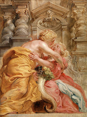 Cornucopia Drawing - Peace Embracing Plenty, Sir Peter Paul Rubens by Litz Collection