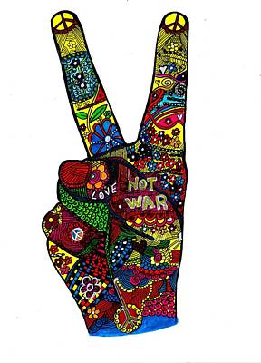 The Sixties Drawing - Peace Hand by Margie Causby