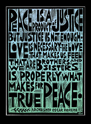 Peace Is A Product Of Justice Art Print by Ricardo Levins Morales